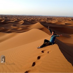 3rd Camel Desert Trekking day: sunrise on the top of Erg Chigaga