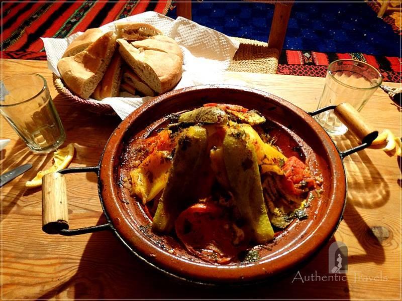 Camel Desert Trek - Day 4: dinner at our camping in M'Hamid Lghzlan town