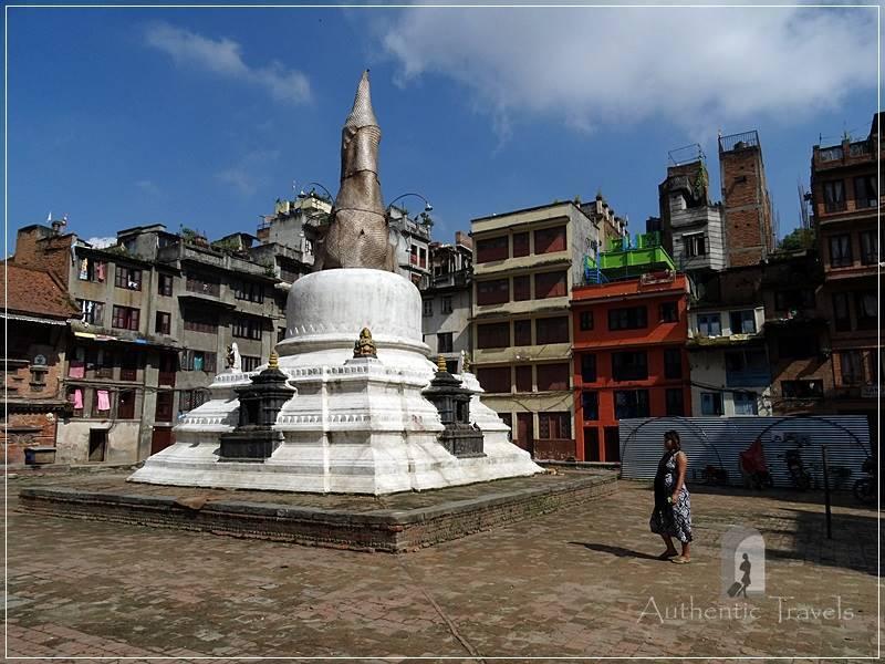 Kathmandu - Yatkha Bahal (courtyard) with a Buddhist stupa