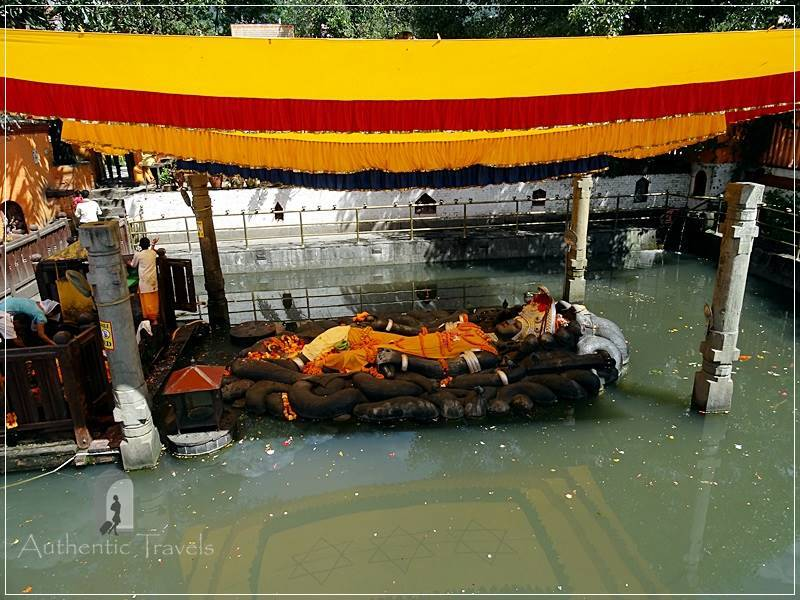 Budhanilkantha Temple (around Kathmandu) - the statue of Vishu as Narayan floating on the water