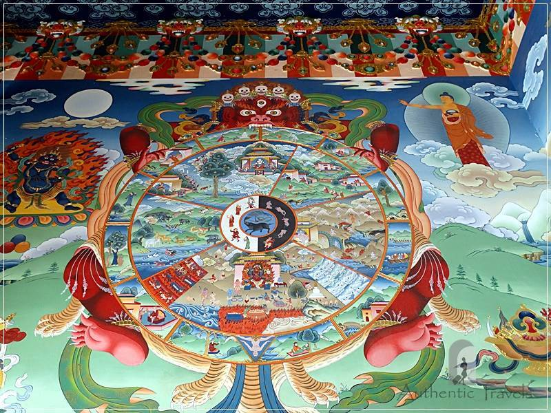 Bodhnath heritage area (around Kathmandu) - Pal Dilyak Gompa - colourful paintings