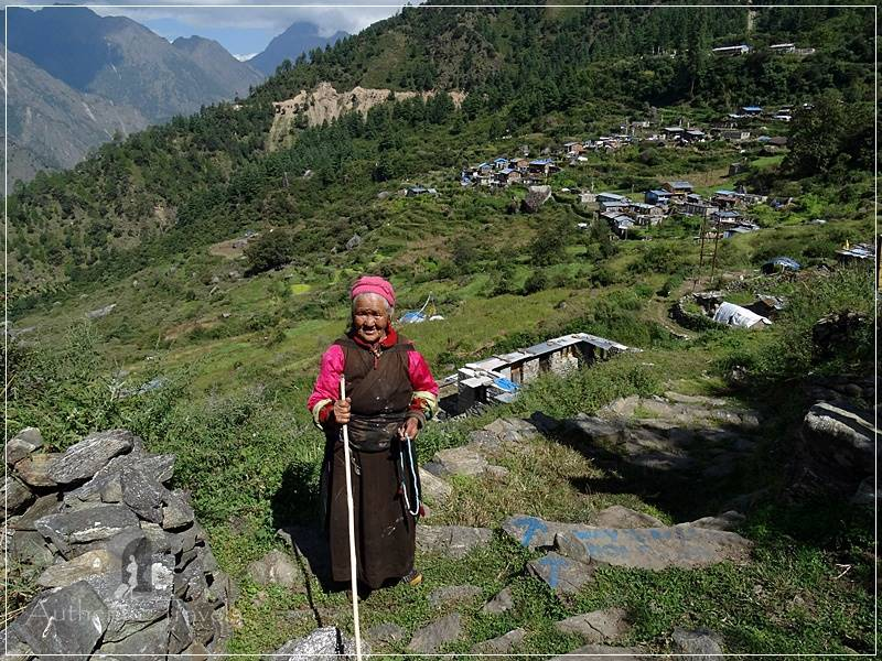 Tamang Heritage Trail - Day 6: Briddhim village - a local old woman I met on the road