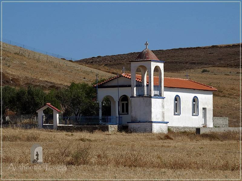 Typical whitewashed chapels on Lemnos Island - they are isolated and everywhere (even on the top of a hill)