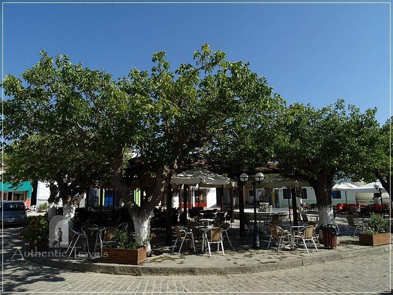 Lemnos Island: Atsiki Village - the main square with tavernas