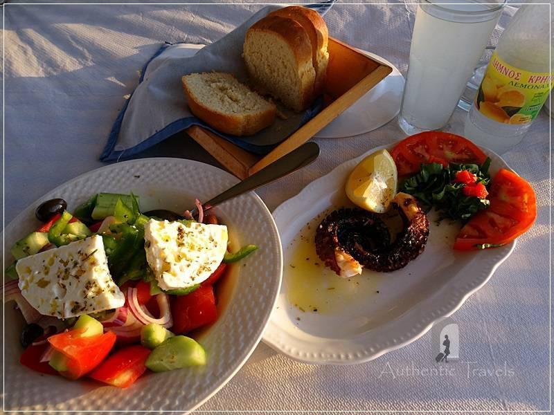 Lemnos Island: Kotsinas Village - Greek salad with grilled octopus