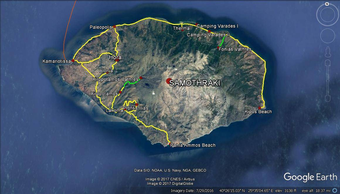 Greek Islands Travel Planning – Samothraki Island (5 days – yellow – road trip, green – hike)
