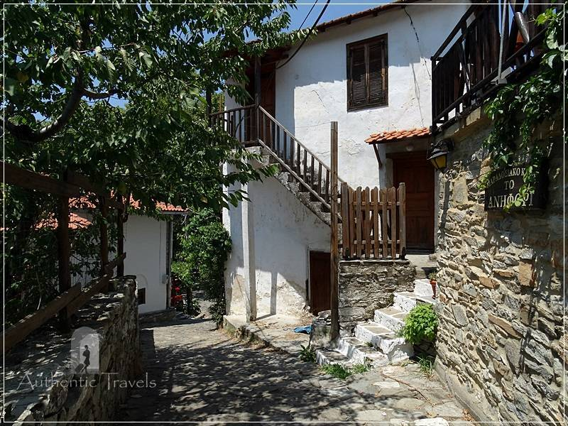 Thassos Island - Mikros Prinos Village: traditional houses with stone and white walls