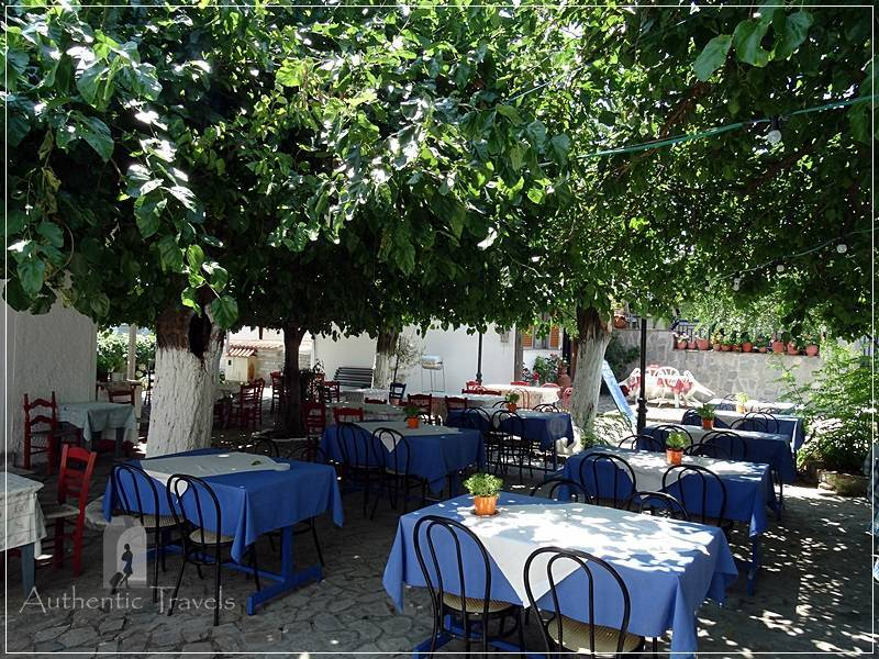Thassos Island - Maries Village: the main square with tavernas
