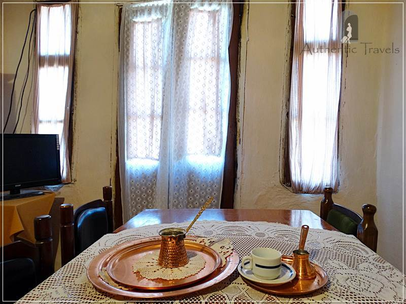 Etno House Shancheva - traditional set for Turkish coffee in the salon of the house