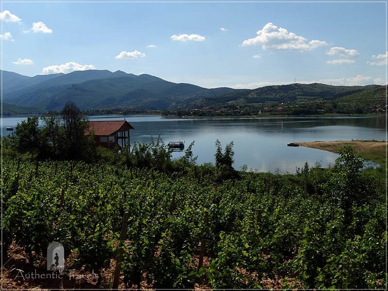 Tikvesh Region: Resava village - rolling vineyards and the lake