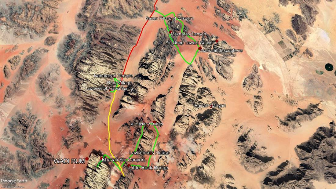 Wadi Rum (green - hikes, yellow - car)