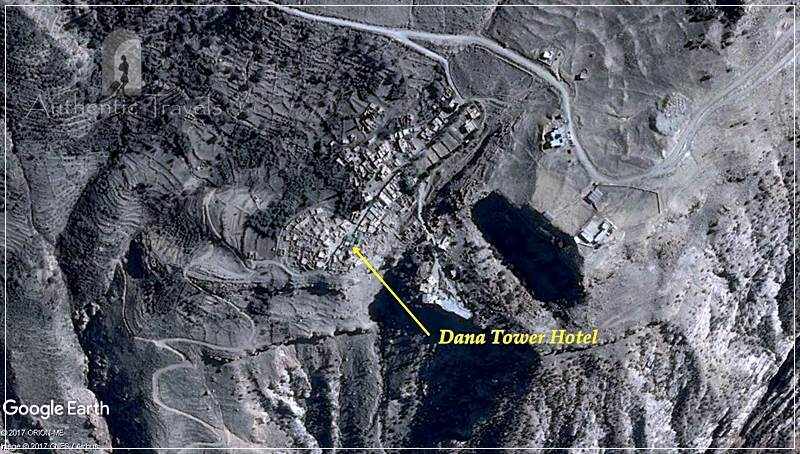 Dana Tower Hotel – the location of the hotel within Dana Village