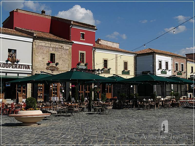 Korce - new restored houses in the Turkish Bazaar