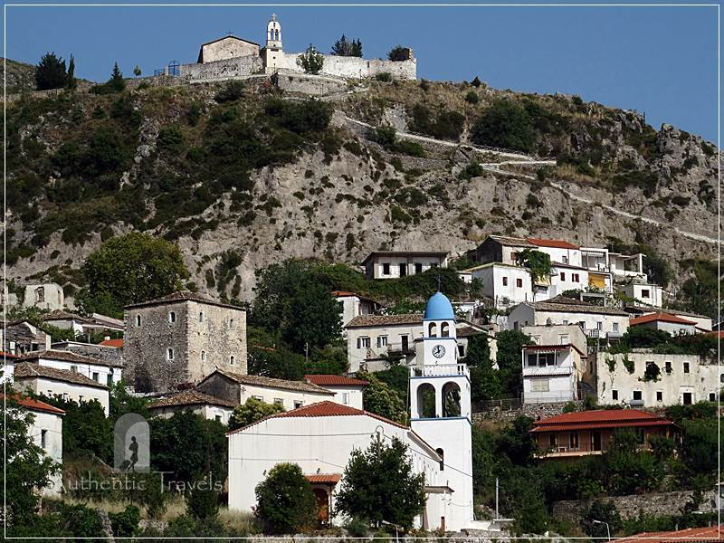 Dhermi Village - the main church and the cemetery church uphill