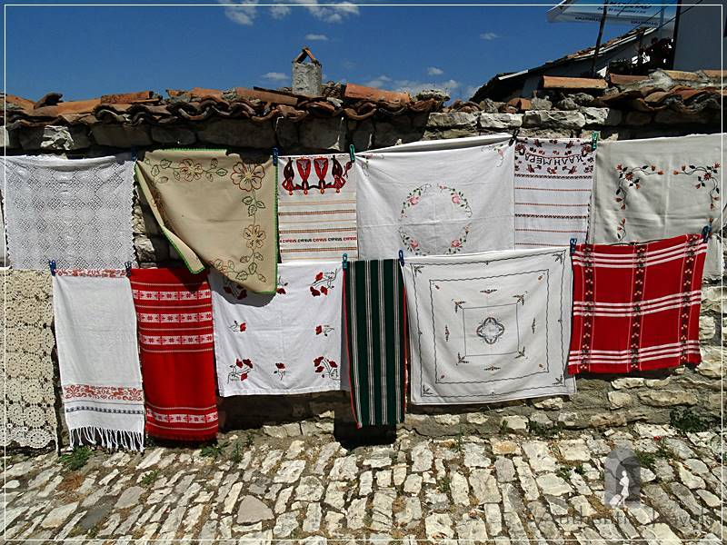 Berat Castle - hand made traditional table cloths