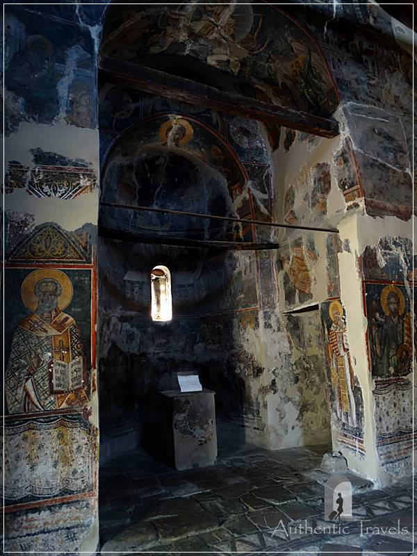 Berat Castle - the mural frescoes of the Church Saint Mary Blacherna
