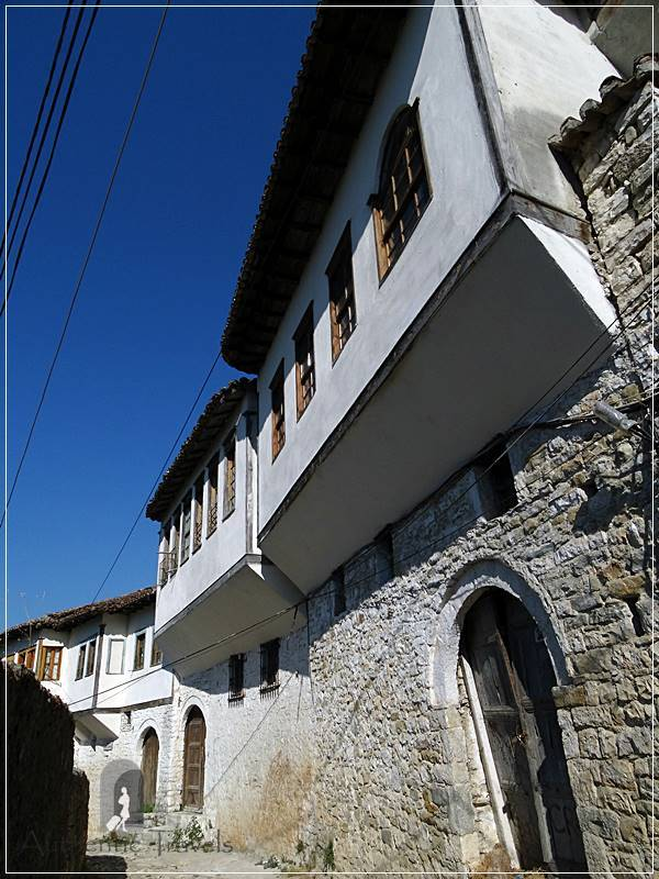 Berat - Gorica Quarter: traditional street with Ottoman houses