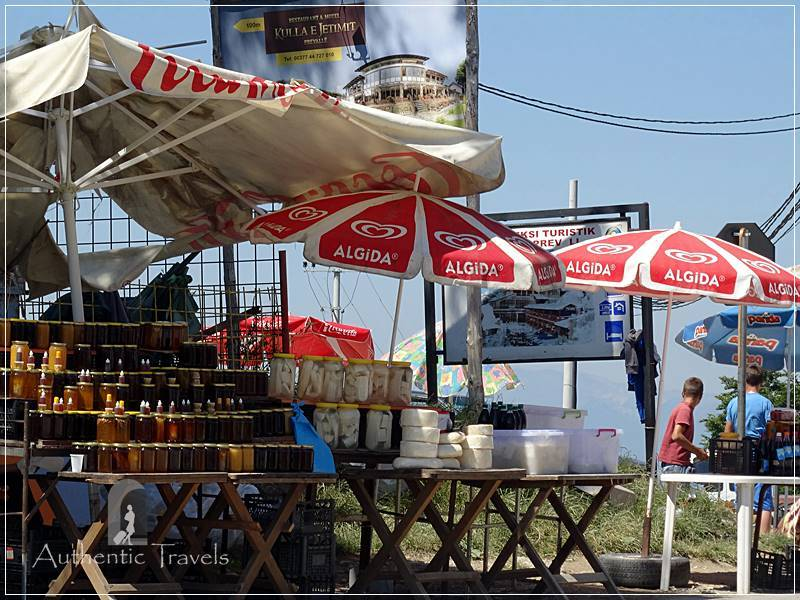 Prevalla mountain resort, near Prizren - cheese, honey, and syrup stalls