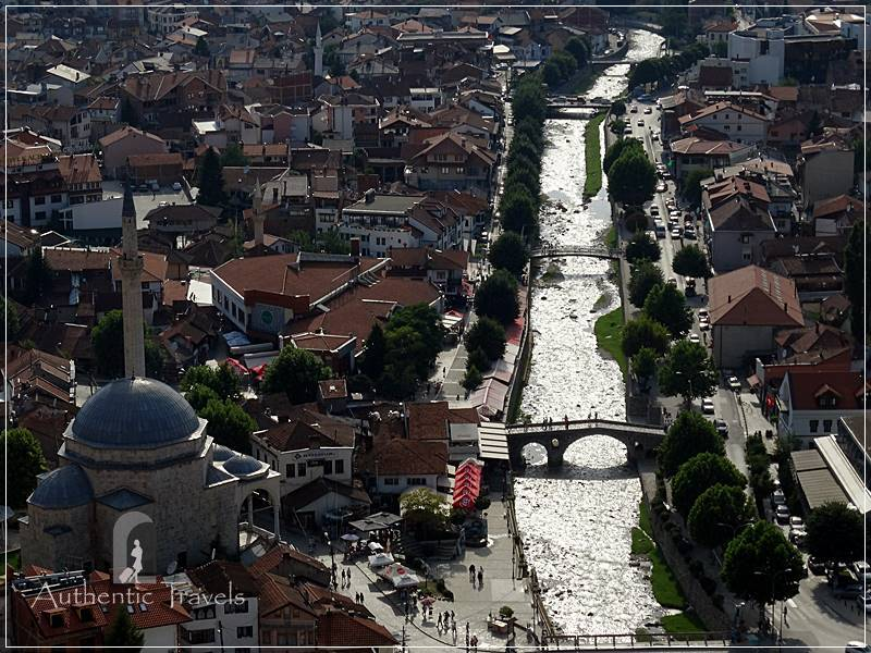 Prizren's Fortress - the view of the town (left side is the Sinan Pasha Mosque)