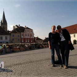 City center of Sibiu, Romania - Iuliana (me) with Katharina from Germany