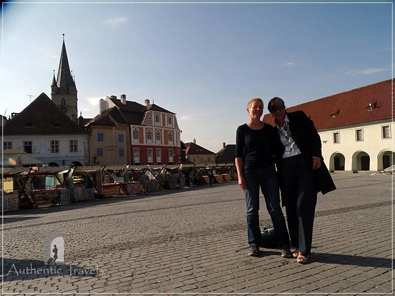 City center of Sibiu, Romania - Iuliana (me) with Katharina from Germany
